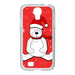 Polar Bear   Red Samsung Galaxy S4 I9500/ I9505 Case (white) by Valentinaart