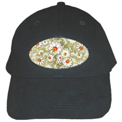 Beautiful White Flower Pattern Black Cap by Onesevenart