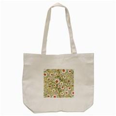 Beautiful White Flower Pattern Tote Bag (cream) by Onesevenart