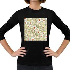 Beautiful White Flower Pattern Women s Long Sleeve Dark T Shirts by Onesevenart