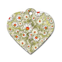 Beautiful White Flower Pattern Dog Tag Heart (one Side) by Onesevenart