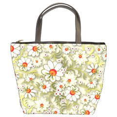 Beautiful White Flower Pattern Bucket Bags by Onesevenart