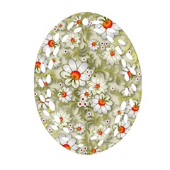 Beautiful White Flower Pattern Oval Filigree Ornament (2 Side)  by Onesevenart