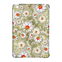 Beautiful White Flower Pattern Apple Ipad Mini Hardshell Case (compatible With Smart Cover) by Onesevenart