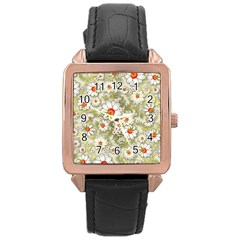 Beautiful White Flower Pattern Rose Gold Leather Watch  by Onesevenart