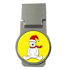 Polar Bear   Yellow Money Clips (round)  by Valentinaart