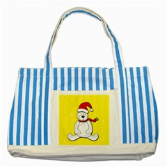 Polar Bear   Yellow Striped Blue Tote Bag by Valentinaart