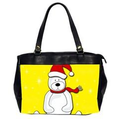 Polar Bear   Yellow Office Handbags (2 Sides)  by Valentinaart