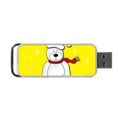 Polar Bear   Yellow Portable Usb Flash (one Side) by Valentinaart