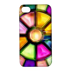 Glass Colorful Stained Glass Apple Iphone 4/4s Hardshell Case With Stand by Onesevenart