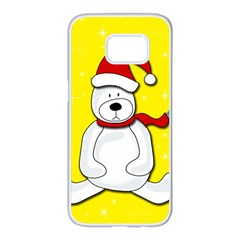 Polar Bear   Yellow Samsung Galaxy S7 Edge White Seamless Case