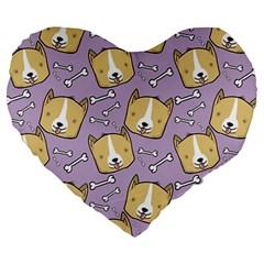 Corgi Pattern Large 19  Premium Heart Shape Cushions by Onesevenart