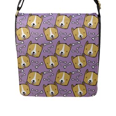 Corgi Pattern Flap Messenger Bag (l)  by Onesevenart