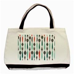 Spoon Fork Knife Pattern Basic Tote Bag by Onesevenart