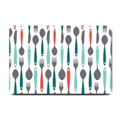 Spoon Fork Knife Pattern Small Doormat  by Onesevenart