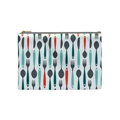 Spoon Fork Knife Pattern Cosmetic Bag (medium)  by Onesevenart