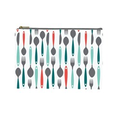 Spoon Fork Knife Pattern Cosmetic Bag (large)  by Onesevenart