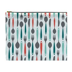 Spoon Fork Knife Pattern Cosmetic Bag (xl) by Onesevenart
