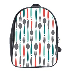 Spoon Fork Knife Pattern School Bags(large)  by Onesevenart