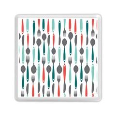 Spoon Fork Knife Pattern Memory Card Reader (square)  by Onesevenart