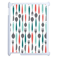 Spoon Fork Knife Pattern Apple Ipad 2 Case (white) by Onesevenart