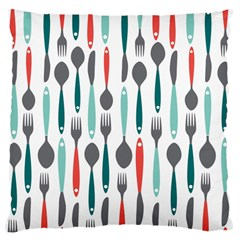 Spoon Fork Knife Pattern Large Cushion Case (two Sides) by Onesevenart