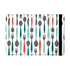Spoon Fork Knife Pattern Apple Ipad Mini Flip Case by Onesevenart
