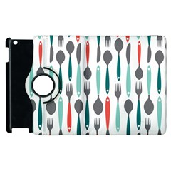 Spoon Fork Knife Pattern Apple Ipad 3/4 Flip 360 Case by Onesevenart