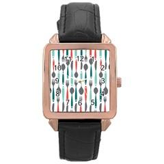 Spoon Fork Knife Pattern Rose Gold Leather Watch  by Onesevenart