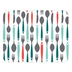 Spoon Fork Knife Pattern Double Sided Flano Blanket (large)  by Onesevenart