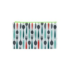 Spoon Fork Knife Pattern Cosmetic Bag (xs) by Onesevenart