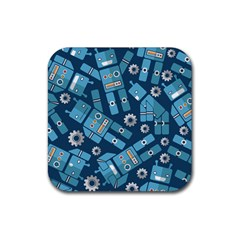 Seamless Pattern Robot Rubber Square Coaster (4 Pack)  by Onesevenart