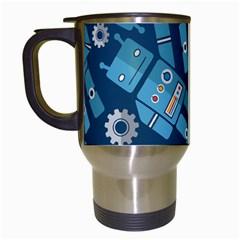 Seamless Pattern Robot Travel Mugs (White) by Onesevenart