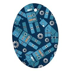 Seamless Pattern Robot Oval Ornament (two Sides) by Onesevenart