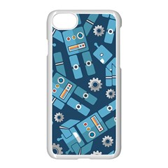 Seamless Pattern Robot Apple Iphone 7 Seamless Case (white) by Onesevenart