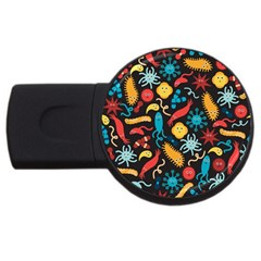 Virus Pattern Usb Flash Drive Round (4 Gb)  by Onesevenart