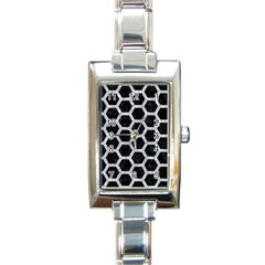 Hexagon2 Black Marble & Gray Marble Rectangle Italian Charm Watch by trendistuff