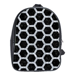 Hexagon2 Black Marble & Gray Marble School Bag (large) by trendistuff