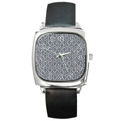 Hexagon1 Black Marble & Gray Marble (r) Square Metal Watch by trendistuff