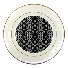 Hexagon1 Black Marble & Gray Marble Porcelain Plate by trendistuff