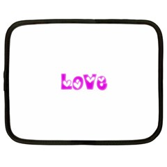 Pink Love Hearts Typography Netbook Case (large) by yoursparklingshop