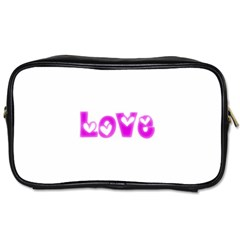 Pink Love Hearts Typography Toiletries Bags 2 Side by yoursparklingshop