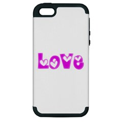 Pink Love Hearts Typography Apple Iphone 5 Hardshell Case (pc+silicone) by yoursparklingshop