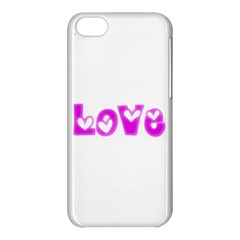 Pink Love Hearts Typography Apple Iphone 5c Hardshell Case by yoursparklingshop