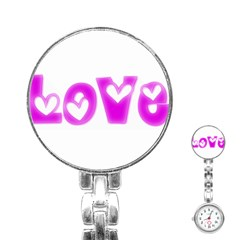 Pink Love Hearts Typography Stainless Steel Nurses Watch by yoursparklingshop