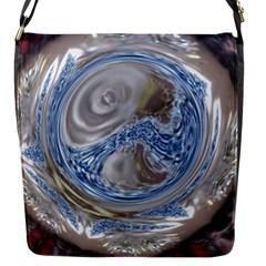 Silver Gray Blue Geometric Art Circle Flap Messenger Bag (s) by yoursparklingshop