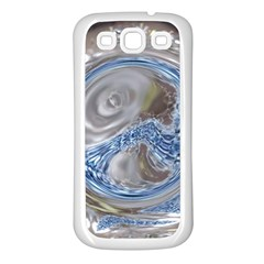 Silver Gray Blue Geometric Art Circle Samsung Galaxy S3 Back Case (white) by yoursparklingshop