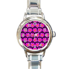 Pink Flower Pattern On Wine Red Round Italian Charm Watch by Costasonlineshop