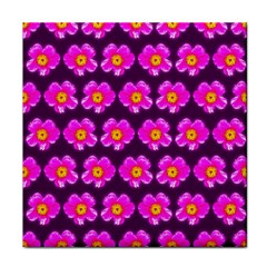 Pink Flower Pattern On Wine Red Tile Coasters