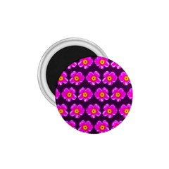 Pink Flower Pattern On Wine Red 1 75  Magnets by Costasonlineshop